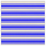 [ Thumbnail: Bisque & Blue Colored Lined Pattern Fabric ]