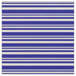 [ Thumbnail: Bisque & Blue Colored Stripes Fabric ]