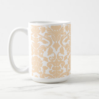 Bisque Color Damask Pattern Classic White Coffee Mug