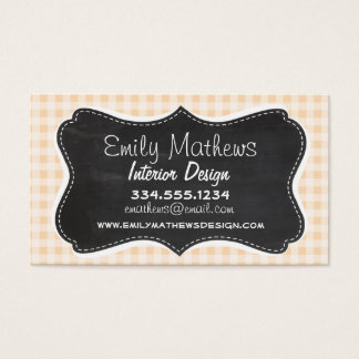 Bisque Color Gingham; Retro Chalkboard Business Card