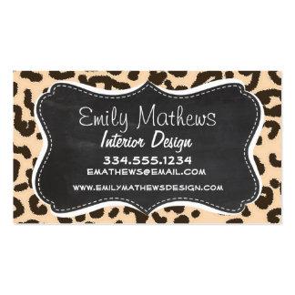 Bisque Color Leopard Print; Retro Chalkboard Business Card Templates