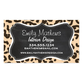 Bisque Color Leopard Print; Retro Chalkboard Double-Sided Standard Business Cards (Pack Of 100)