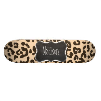 Bisque Color Leopard Print; Retro Chalkboard Skateboard