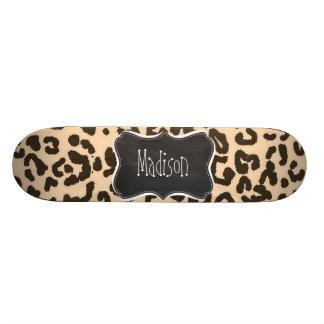 Bisque Color Leopard Print; Retro Chalkboard Custom Skateboard