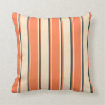 [ Thumbnail: Bisque, Coral & Dark Slate Gray Lines Throw Pillow ]