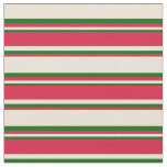 [ Thumbnail: Bisque, Crimson & Dark Green Lines Fabric ]