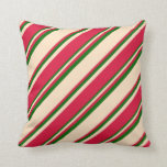 [ Thumbnail: Bisque, Crimson & Dark Green Lines Throw Pillow ]