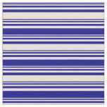 [ Thumbnail: Bisque & Dark Blue Colored Lined Pattern Fabric ]