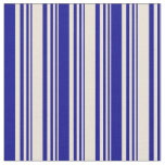 [ Thumbnail: Bisque & Dark Blue Pattern of Stripes Fabric ]