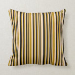 [ Thumbnail: Bisque, Dark Goldenrod & Black Colored Lines Throw Pillow ]