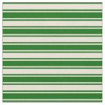 [ Thumbnail: Bisque & Dark Green Colored Lines/Stripes Pattern Fabric ]