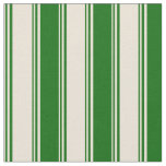 [ Thumbnail: Bisque & Dark Green Colored Pattern of Stripes Fabric ]