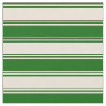 [ Thumbnail: Bisque & Dark Green Colored Striped Pattern Fabric ]