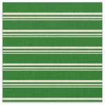 [ Thumbnail: Bisque & Dark Green Lines Pattern Fabric ]