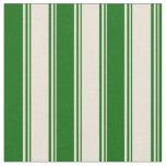 [ Thumbnail: Bisque & Dark Green Striped Pattern Fabric ]