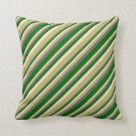 [ Thumbnail: Bisque, Dark Khaki, Dim Grey & Dark Green Lines Throw Pillow ]