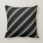 [ Thumbnail: Bisque, Dark Slate Gray, Grey, and Black Stripes Throw Pillow ]