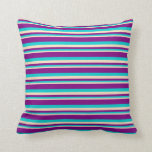 [ Thumbnail: Bisque, Dark Turquoise & Purple Colored Pattern Throw Pillow ]