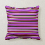 [ Thumbnail: Bisque, Dark Violet, Orchid, Dark Red & Black Throw Pillow ]