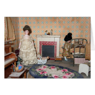 Bisque Dolls by Fireplace Card - Blank