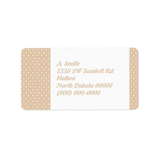 Bisque Flower Argyle Pattern Address Label