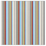 [ Thumbnail: Bisque, Gray, Khaki, Red & Light Sky Blue Lines Fabric ]
