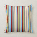 [ Thumbnail: Bisque, Gray, Khaki, Red & Light Sky Blue Lines Throw Pillow ]