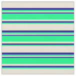[ Thumbnail: Bisque, Green, and Dark Blue Lines Fabric ]