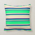 [ Thumbnail: Bisque, Green, and Dark Blue Lines Throw Pillow ]