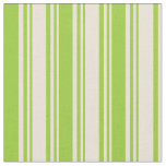 [ Thumbnail: Bisque & Green Colored Striped Pattern Fabric ]