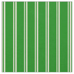 [ Thumbnail: Bisque & Green Lines Pattern Fabric ]
