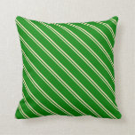 [ Thumbnail: Bisque & Green Lines Pattern Throw Pillow ]