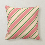 [ Thumbnail: Bisque, Light Coral, and Forest Green Lines Pillow ]