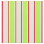 [ Thumbnail: Bisque, Light Green & Crimson Colored Stripes Fabric ]