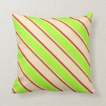 [ Thumbnail: Bisque, Light Green & Crimson Colored Stripes Throw Pillow ]