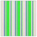 [ Thumbnail: Bisque, Lime, and Medium Slate Blue Stripes Fabric ]