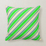 [ Thumbnail: Bisque, Lime, and Medium Slate Blue Stripes Pillow ]