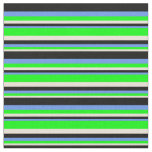 [ Thumbnail: Bisque, Lime, Cornflower Blue, and Black Pattern Fabric ]