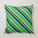 [ Thumbnail: Bisque, Lime, Cornflower Blue, and Black Pattern Throw Pillow ]