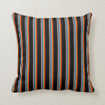 [ Thumbnail: Bisque, Midnight Blue, Aquamarine, Red & Black Throw Pillow ]