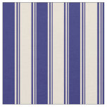 [ Thumbnail: Bisque & Midnight Blue Colored Stripes Fabric ]
