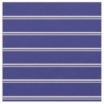 [ Thumbnail: Bisque & Midnight Blue Stripes/Lines Pattern Fabric ]