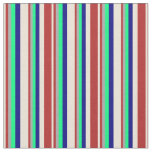 [ Thumbnail: Bisque, Red, Dark Gray, Green, and Blue Lines Fabric ]