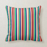 [ Thumbnail: Bisque, Red, Dark Gray, Green, and Blue Lines Throw Pillow ]