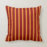 [ Thumbnail: Bisque, Red, Yellow, and Dark Red Colored Lines Throw Pillow ]