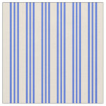 [ Thumbnail: Bisque & Royal Blue Colored Lined Pattern Fabric ]