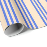 [ Thumbnail: Bisque & Royal Blue Colored Lined Pattern Wrapping Paper ]
