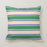 [ Thumbnail: Bisque, Sea Green, and Medium Slate Blue Colored Throw Pillow ]