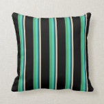 [ Thumbnail: Bisque, Slate Gray, Turquoise, Sea Green & Black Throw Pillow ]