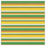 [ Thumbnail: Bisque, Yellow, Chocolate & Forest Green Stripes Fabric ]
